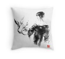 Geisha Japanese woman in kimono cherry blossom original Japan painting art Throw Pillow