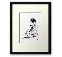 Geisha Japanese woman in Tokyo kimono original Japan painting art Framed Print
