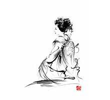 Geisha Japanese woman in Tokyo kimono original Japan painting art Photographic Print