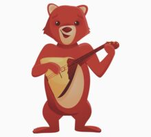 Happy cartoon bear playing music with balalaika by berlinrob