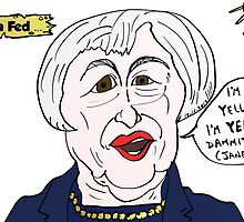 Janet YELLEN caricature politique by Binary-Options