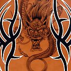 Tribal Dragon Copper iPhone Case by Tim Miklos