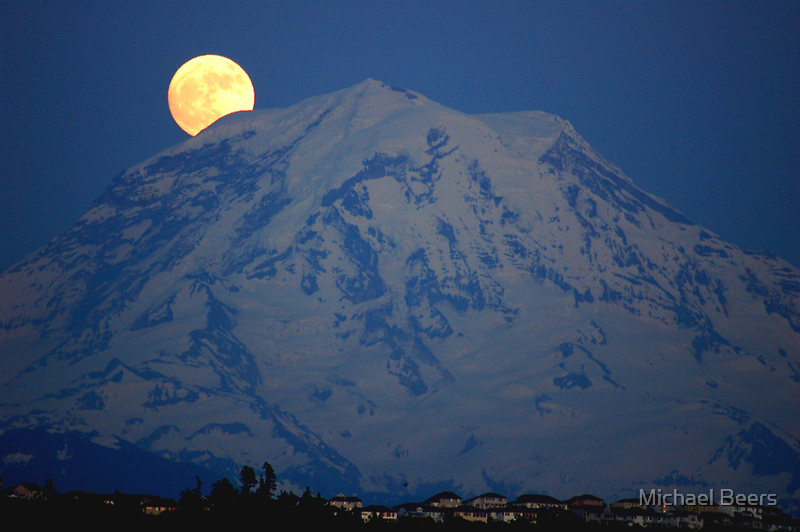 MOON OVER MT. RAINIER IN WASHINGTON STATE by Michael Beers