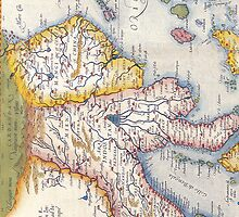 Antique Map of Southeast Asia Circa 1590 by pjwuebker
