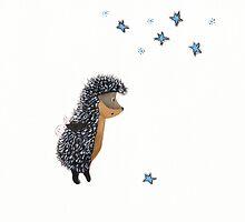 Nursery art - Hedgehog thinks of a happy wish by Marikohandemade