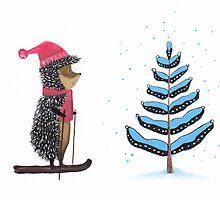 Nursery art - Winter adventure of hedgehog by Marikohandemade