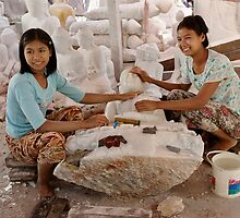 workshop of Buddha Statues, carving in marble by travel4pictures