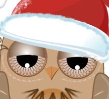 Cute Owl with Santa hat Tee Sticker