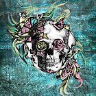 Grunge butterfly smoke skull by KristyPatterson