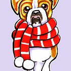 English Bulldog Happy Winter Scarf by offleashart