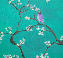 Blossom - teal Bird by Ali Close