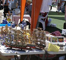 Three models of galleons! Market Stall, Port Adelaide.  by Rita Blom