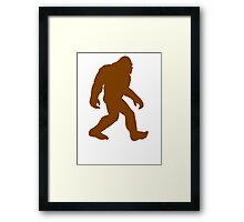 Brown Bigfoot Silhouette Framed Print