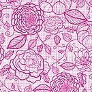 Pink lace flowers pattern by oksancia