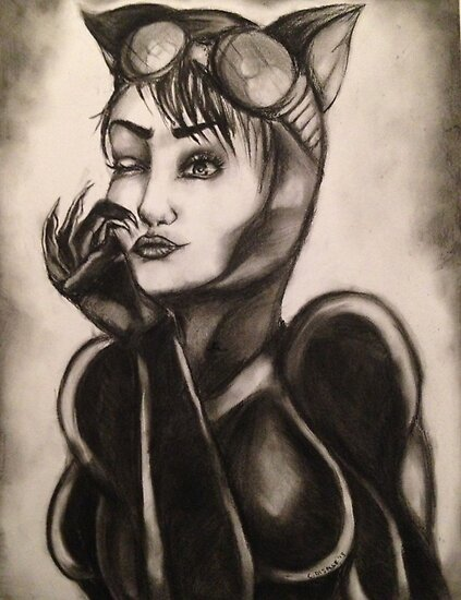 Catwoman Charcoal Drawing by Ciara Di Salle