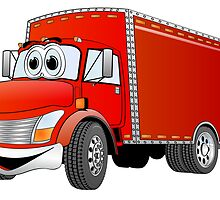 Box Truck Red Cartoon by Graphxpro