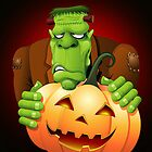 Frankenstein Monster Cartoon with Pumpkin by BluedarkArt