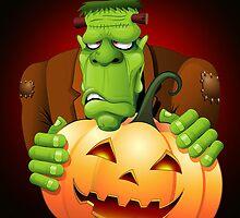 Frankenstein Monster Cartoon with Pumpkin by BluedarkArt