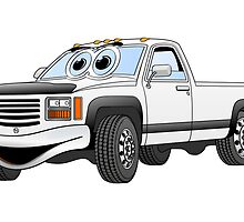 White Pick Up Truck Cartoon by Graphxpro