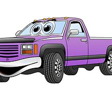 Purple Pick Up Truck Cartoon by Graphxpro