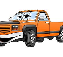 Orange Pick Up Truck Cartoon by Graphxpro