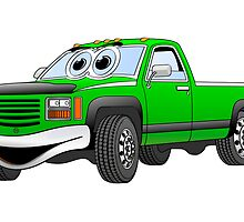 Green Pick Up Truck Cartoon by Graphxpro