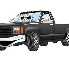 Black Pick Up Truck Cartoon by Graphxpro