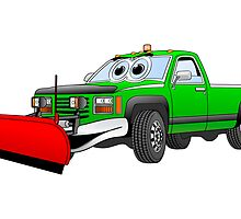 Green R Pick Up Truck Snow Plow Cartoon by Graphxpro