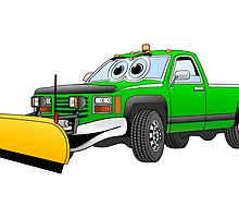 Green Y Pick Up Truck Snow Plow Cartoon by Graphxpro