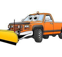 Orange Y Pick Up Truck Snow Plow Cartoon by Graphxpro