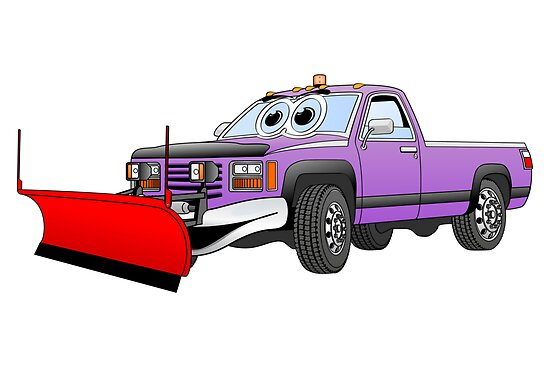 Purple R Pick Up Truck Snow Plow Cartoon by Graphxpro