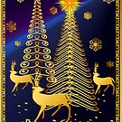 Gold Christmas Trees and Reindeer Posters by Lotacats