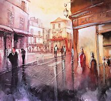 Watercolor - Sunset over Montmartre - Paris by nicolasjolly