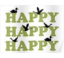 Green Digital Camo Happy Happy Happy Poster