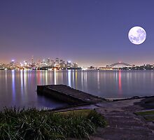 Full moon pre dawn over Sydney Harbour Bradleys Head by Gary Blackman