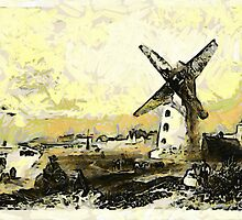 A digital painting of The Windmill, Lytham St Annes, Lancashire by Dennis Melling