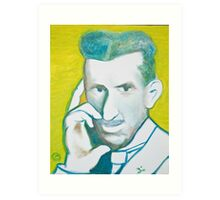 The Nikolai Tesla in green blue in oil painting! Art Print