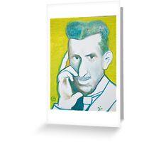 The Nikolai Tesla in green blue in oil painting! Greeting Card