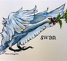 Swan. ('Seven swans a-swimming...'). The twelve days of Christmas. by Elizabeth Moore Golding