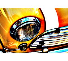 Yellow Retro Mini Cooper Photographic Print