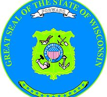 Wisconsin Minimal Blue Green | State Seal | SteezeFactory.com by FreshThreadShop