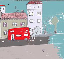 The street with the red bus by Marie Charrois