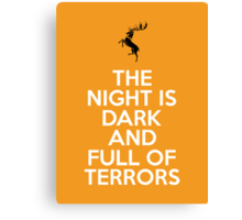 House Baratheon The Night Is Dark And Full Of Terrors Canvas Print