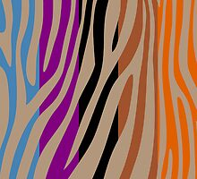 Animal Print Skin Zebra Retro Colorful Pattern 3 by Nhan Ngo