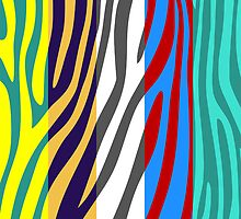 Animal Print Skin Zebra Retro Colorful Pattern 4 by Nhan Ngo