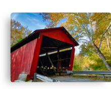 Red Covered Bridge and Giant Sycamore Canvas Print