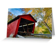 Red Covered Bridge and Giant Sycamore Greeting Card