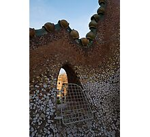 Barcelona Through Gaudi's Whimsical Little Window on the Tiled Roof of Casa Batllo Photographic Print