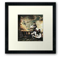 Steampunk Warrior and Little Miska Framed Print