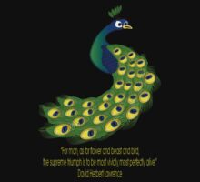 The Peacock and Quote T-shirt by Dennis Melling